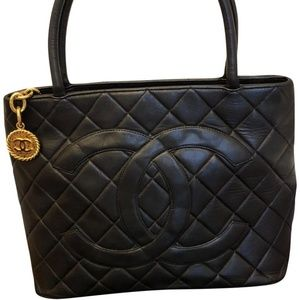 Chanel Medallion Black Cavier Leather Tote